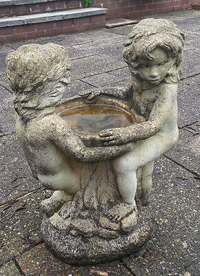 2 Girls Stone Bird Bath Ornament