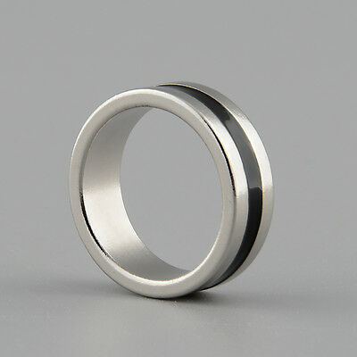 Strong Magnetic Magic Ring Silver+Black Coin Magician Props Tool Size L