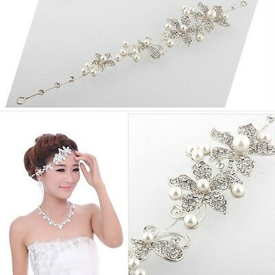 Chic Rhinestone Pearl Flower Wedding Bridal Headband Tiara Headwear Party