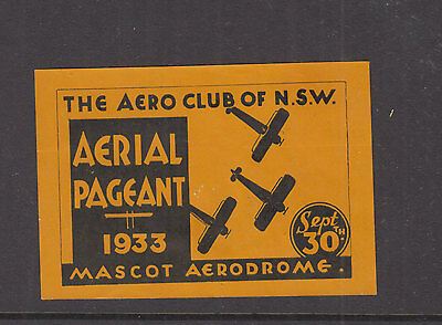 AUSTRALIA 1933 (-) Yellow AERIAL PAGEANT NSW-Vignette / Cinderella- MNG- SCARCE