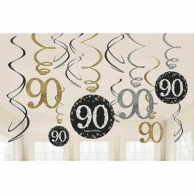 12 x 18th Birthday Hanging Swirls Black Silver Gold Party Decorations 9900558