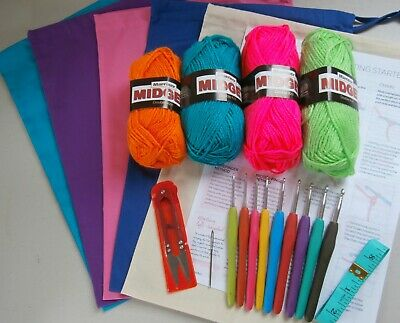 Beginners Crochet Starter Kit inc 9 Soft Grip Crochet Hooks,Measure,Wool,Snips