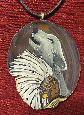 Wolf and Indian hand painted on Agate Slice pendant/necklace