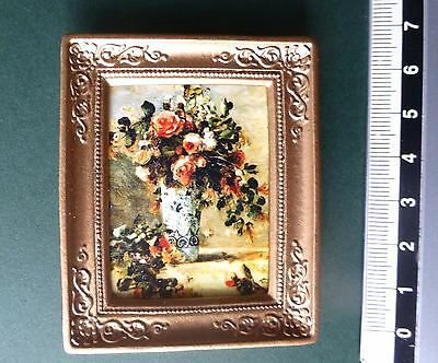 DOLLS HOUSE picture oil VASE of FLOWERS FLORAL painting effect gold frame12th