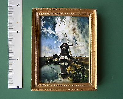 DOLLS HOUSE PICTURE  Dutch WINDMILL gold frame  oil painting effect 12th