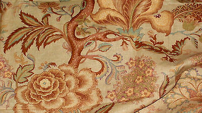 VITAGE LINEN FABRIC. SHABBY CHIC 6.3 Mtrs. SOFT FURNISHINGS. BROWN CREAM FLORAL