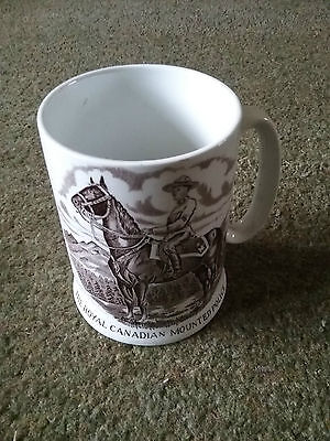 Very tall Royal Canadian Mounted Police pictorial mug. Wood and sons Burslem
