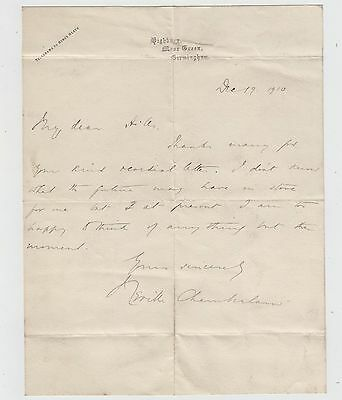 NEVILLE CHAMBERLAIN, Prime Minister, rare early Autograph Letter Signed 1910