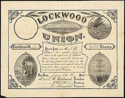 Lockwood Union, $1 shares, 1873, signed Rev. Lewis C. Lockwood