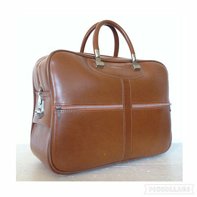 Vintage 60s 70s Leather Weekend Luggage Bag Travel Suitcase Briefcase Holdall
