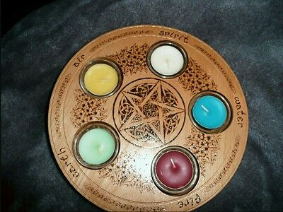 Pagan  wicca altar votive  plate /candle holder