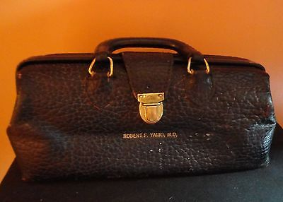 Antique Collecters BLACK LEATHER PHYSICIAN-DOCTOR BAG - ELI LILLY CO.