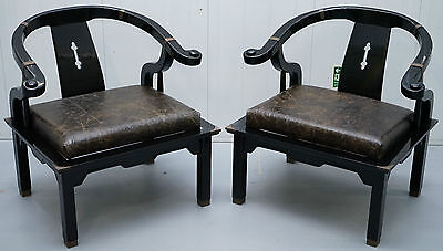 Rare Black Ming Dynasty James Mont Style Chinese Campaign Horse Shoe Armchairs