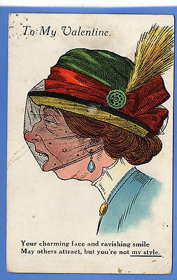 Old Vintage 1920 Postcard To My Valentine Woman  Wearing Hat Veil Feather