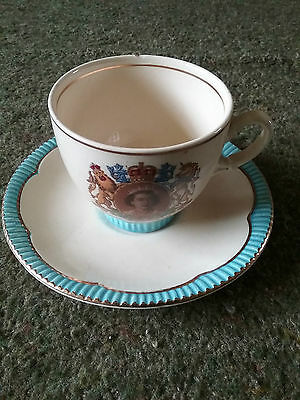 Clarice Cliff E11R Coronation commemorative cup and saucer.