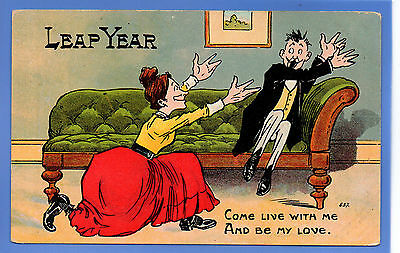Old Vintage Postcard Leap Year Woman Asking Man To Live With Her Be My Love