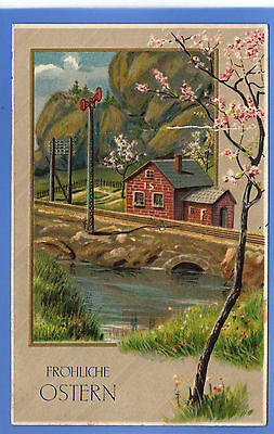 Old Vintage 1910 Embossed Postcard Easter Country Scene Froliche Ostern