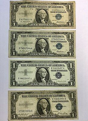 Lot of Four One Dollar Silver Certificates Series 1957 and 1935