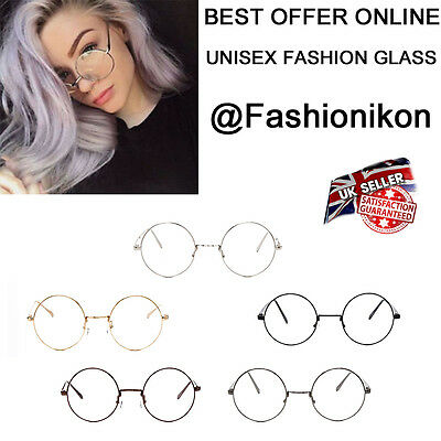 Unisex Fashion Eyewear Clear Round Circle Lens Metal Frame Retry Geek Glasses