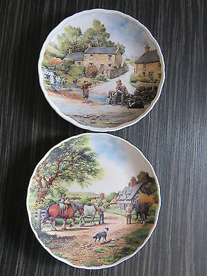 Pair Of Royal Doulton Village Life Plates By A.forster - For Greyhound Rescue