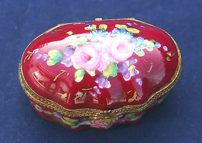 Vintage Limoges hand painted oval trinket pill box