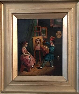 'The Young Artist' Antique 19th C Oil Painting 1 Of 2
