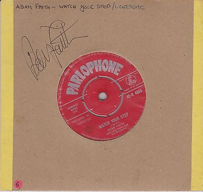 Signed Adam Faith Record -Watch Your Step/Lonesome - 7 inch 45 RPM - Parlophone