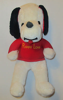 *Flaw* Vtg 1970s Knickerbocker PUPPY LOVE Plush Stuffed Dog Snoopy Clone 18""