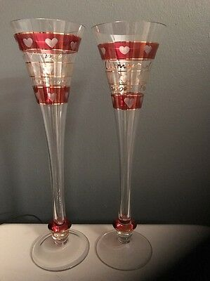 2 Pier 1 Imports L'Amour Crystal Champagne Flutes Etched Hearts Red Gold Accents