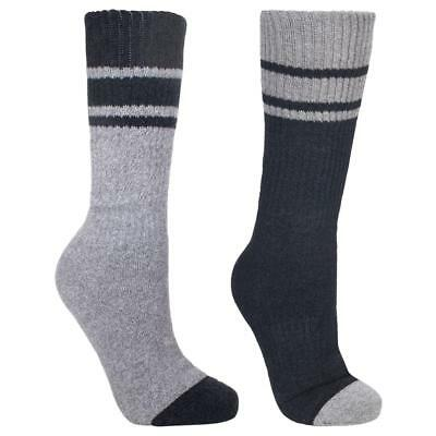 Trespass Hitched Mens 2 Pack Anti Blister Walking Hiking Socks Black/ Grey 4/7