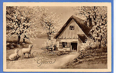 Old Vintage 1933 Postcard Easter Lambs Sheep Country Scene Blossom Greetings