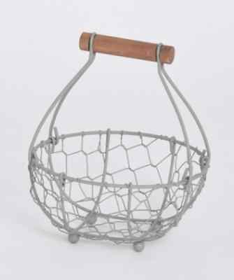 Small Grey Wire Round Storage Basket with Wooden Handle Shabby Chic Rustic