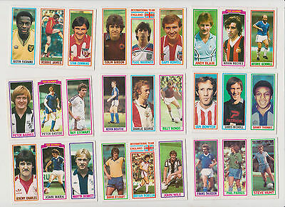 27  FOOTBALLERS..(3  per  card )...9  CARDS...1981...TOPPS...BLUE  BACK
