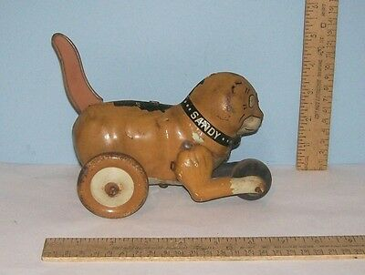 SANDY dog Tin Rolling Toy - Little Orphan Annie dog - Tin Lithograph - As Is