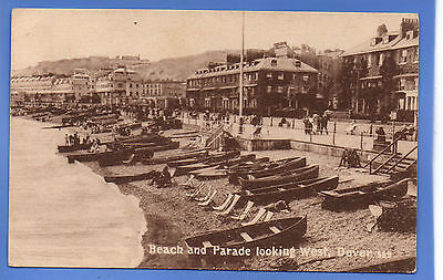 Old Vintage Postcard Beach & Parade Looking West Dover Kent