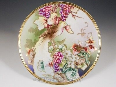 Antique Nippon Hand Painted MORIAGE PARADISE BIRD FLOWERS GOLD GILDED PLATE