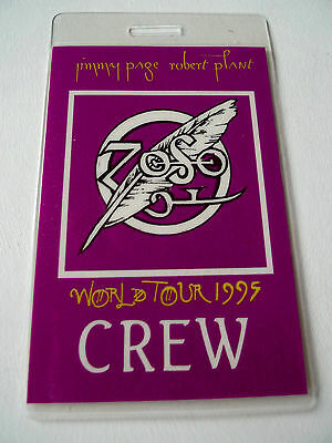 JIMMY PAGE & ROBERT PLANT Laminated Crew Pass World Tour 1995 Led Zeppelin