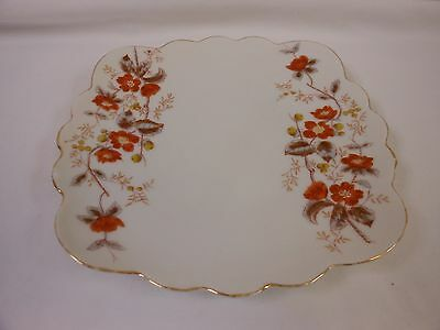 Carlsbad Marx Gutherz Austria Orange Floral Square Scalloped Dessert Side Plate