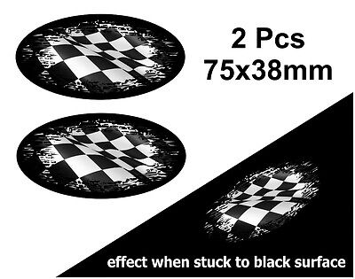 2Pcs Oval FADE TO BLACK B&W Flying Chequered Flag vinyl car sticker Decal 75mm