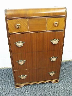 Art Deco DRESSER chest of drawers vintage wooden inlay inlaid 40s waterfall dome