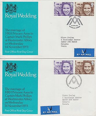 GB 3 - 1973 FDC's - different cancellations VF