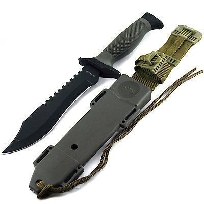 Tactical Bowie Knife Survival Hunting Combat Fixed Blade US Military Sheath 12''