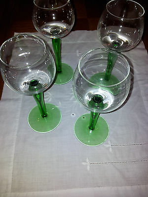 Tall vintage green stemmed wine glasses X 4