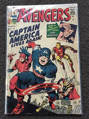 The Avengers #4 - First SA Appearance Of Captain America - VG (4.0)