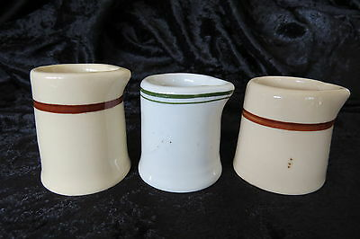 Individual Cream Milk Pitchers Lot of 3 Porcelain China Vintage Restaurant Ware