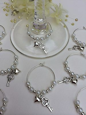 20 White Pearl Wine Glass Charms. Wedding,Favours,party