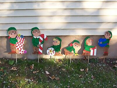 Handmade hand painted Happy Elves for your yard- set of 6
