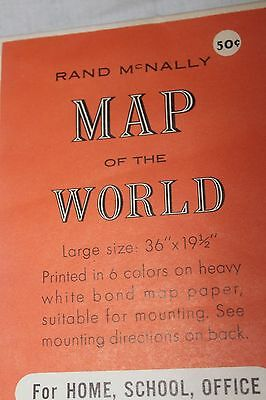 1950s VINTAGE REXALL RAND McNALLY COSMOPOLITAN MAP OF THE WORLD 36X19