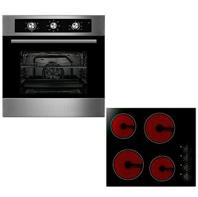 Cookology 60cm Built-in Electric Fan Oven & Knob Control Ceramic Hob Pack