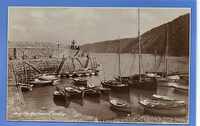 Old Vintage Rp Postcard The Harbour Clovelly Cornwall